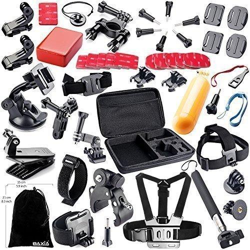 BAXIA TECHNOLOGY 44-in-1 Accessories for GoPro HERO 5 Session 4 3  3 2 1 Black Silver