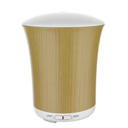 200ml Wood Grain Essential Oil Diffuser, BAXIA TECHONOLOGY Ultrasonic Aroma Cool Mist Humidifier with 8 Color Changing LED Lights Portable for Office Home Room Study Yoga Spa