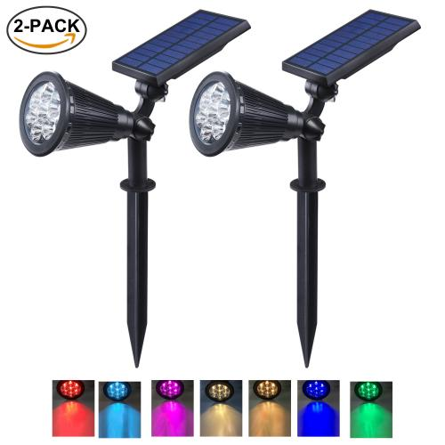 BAXIA TECHNOLOGY Rechargeable Landscape, Yard, Patio Solar Spot Lights Outdoor, 7 LED Color Changing with Auto On/Off Solar Light, Black, 2Pack